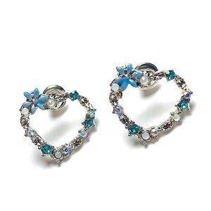 New! Blue Rhinestones Heart Hoop Stud Earrings